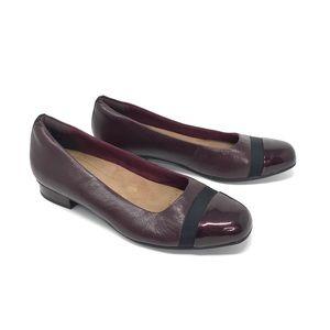 Clarks Keesha Rosa Cap Toe Pump Heels Burgundy 9.5